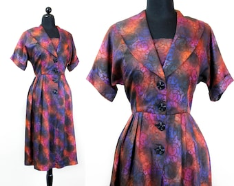 1960s shirtwaist dress // Rare Jewel vintage 1960s purple  shadow vine dress . lg /large