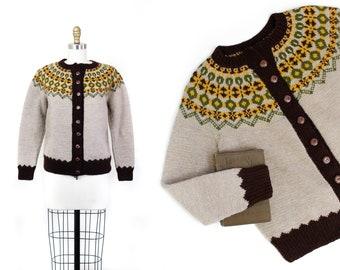 1940s fairisle sweater // Spring on the Mountain vintage handknit 1940s wool cardigan md