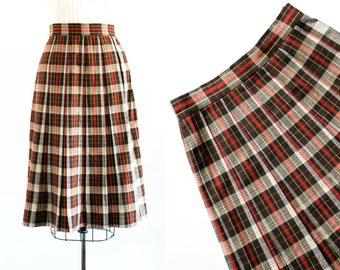 Vintage 1950s skirt . Cardinal and Crow . red plaid skirt . 1950s plaid skirt . pleated skirt by Alex Colman
