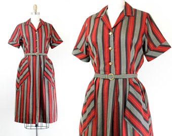 1960s striped dress // Sage Berry vintage 60s shirtwaist dress with chevron pockets . md / lg