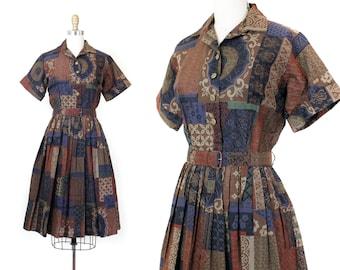1960s blue dress // Patchwork Collage vintage 50s / 60s print shirtwaist dress sm / md