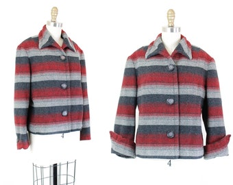 Vintage Pendleton jacket // rare red herringbone striped 1950s Pendleton tailored coat md /lg