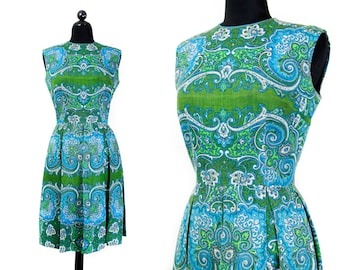 1960s paisley dress //  Wicked Garden green and blue vintage 1960s L'Aiglon dress . md