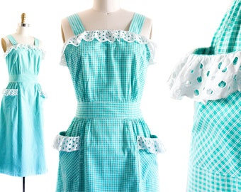 1940s dress // Turquoise Plaid and Eyelet vintage 1940s cotton sundress by Princess Peggy md