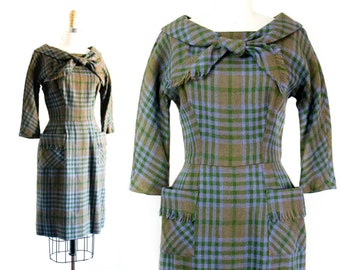 1960s wool dress // Thistle violet and green vintage 60s plaid dress . md