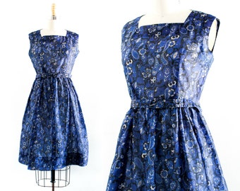 Lapis Lazuli . 1960s blue paisley dress . sm / md