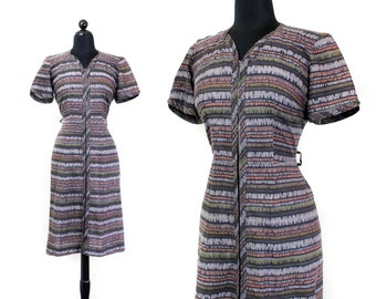 Tree Bark // 1950s brown striped zip front house dress md / lg