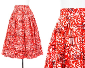 1950s skirt // Secret Code orange and black vintage 50s novelty print skirt medium