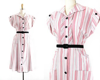 Hard Candy  . 1940s pink and red striped cotton day dress . md