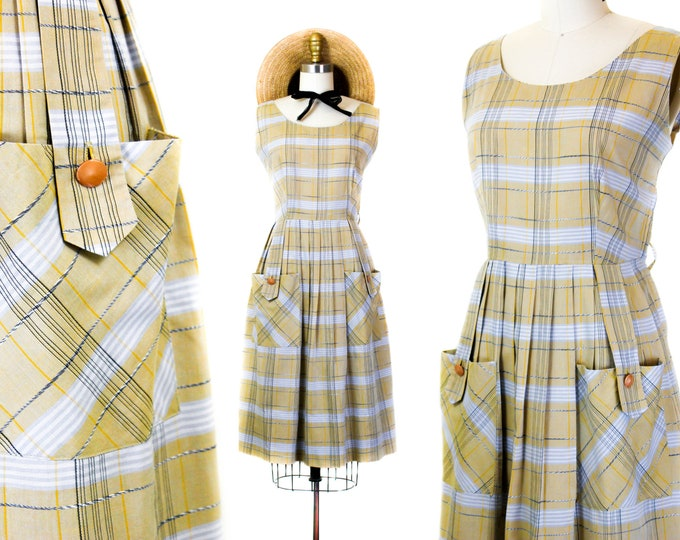 Featured listing image: 1950s plaid dress // Harvest Gold vintage yellow plaid 1950s sundress . md / lg