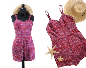 1960s swimsuit // Berry Picking Plaid vintage 50s / 60s playsuit swimsuit romper  md / lg