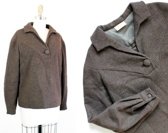 1960s top // Last of the Leaves brown vintage 1960s tweed pullover md / lg