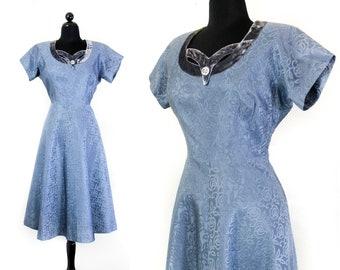 1950s formal dress // Cinderella blue vintage 1950s satin and velvet party dress md / lg