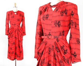 Art of Preservation . 1940s red rayon pottery print dress . sm / small