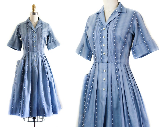 Featured listing image: 1950s dress // Day Dreamer blue striped vintage 1950s shirtwaist dress . sm / md