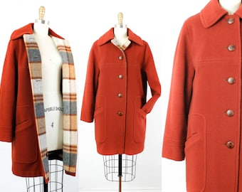 1960s red coat // Maple Valley vintage 60s wool coat by Penguin Fashions . md