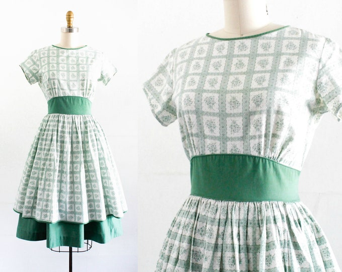 Featured listing image: Vintage 1950s dress . Rosemary and Sage . floral print cotton dress . 1950s green dress by Cinderella sm / md
