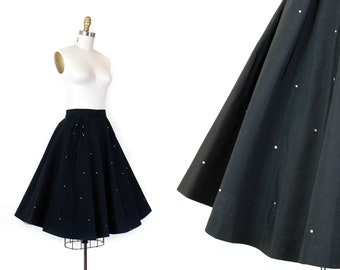 1950s black skirt // Infinite Night vintage 1950s black faille skirt with rhinestones . sm