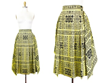 1950s yellow skirt // Honey Bee handkerchief vintage 50s skirt . sm / md