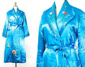 Morning Glory . 1960s / 70s turquoise blue satin Japanese robe .  sm / md