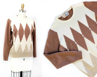 1960s sweater // Harlequin diamond pattern vintage 60s pullover sweater by Pringle . md