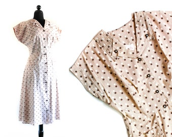 1940s polka dot dress // Cocoa brown vintage 40s / 50s cotton day dress lg / xl