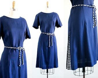 Vintage 1960s dress . Montauk . blue linen dress .  nautical 1960s navy blue dress . md / lg