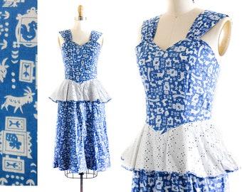 1940s dress //  blue cotton novelty print 1940s peplum dress by Lanz . sm / xs