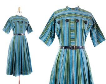 1960s striped dress // Lucky Charmer blue and green vintage 60s dress NOS // md