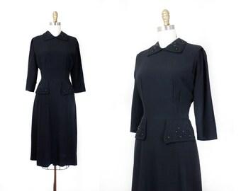 Cusp of Midnight // 1940s studded black rayon dress Md