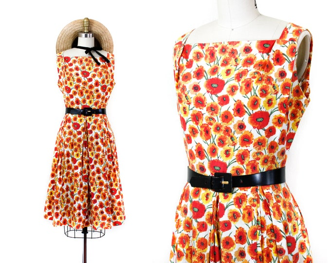 Featured listing image: June Bloom // 1950s orange poppy print sundress by McKettrick md