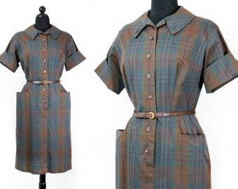 Sweet Caroline .  1960s brown plaid shirtwaist dress . lg