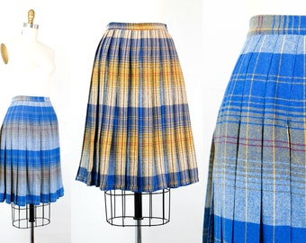 Sunrise, Sunset .  1950s reversible plaid skirt . md