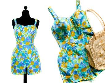 1950s swimsuit // Sea Garden blue floral print Jantzen 50s / 60s swimsuit . lg / xl