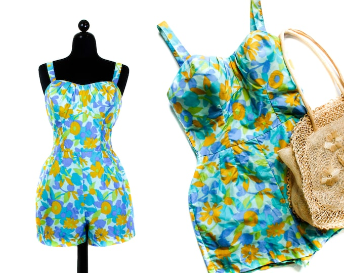 Featured listing image: 1950s swimsuit // Sea Garden blue floral print Jantzen 50s / 60s swimsuit . lg / xl