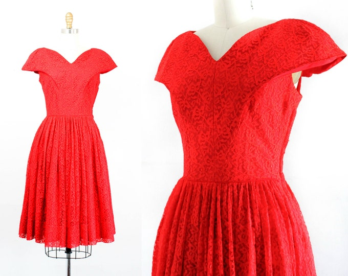 Featured listing image: 1950s red dress // Red Hot vintage 1950s lace dress // vintage party dress . md