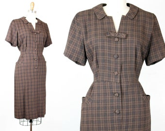 Sweet Chestnut . 1950s brown plaid fitted dress . md / lg