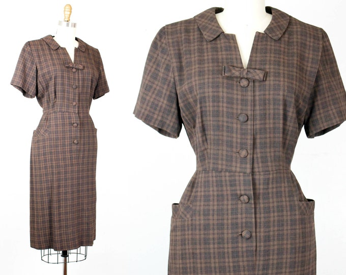 Featured listing image: Sweet Chestnut . 1950s brown plaid fitted dress . md / lg