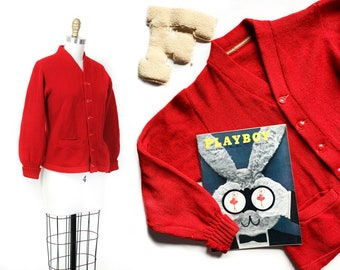 1950s letter sweater // Study Buddy vintage 1940s / 50s red wool knit varsity cardigan Sm / Md