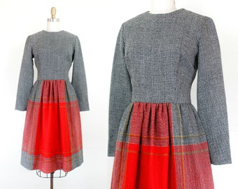 1960s tweed dress // Home for the Holidays vintage 1960s plaid dress by Vicky Vaughn sm /md