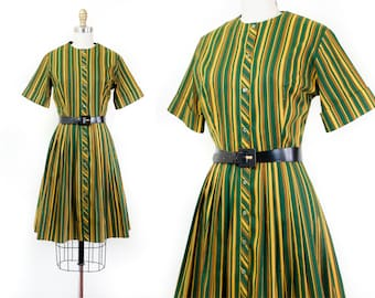 1960s striped dress // Zucchini green and yellow vintage striped 60s dress by Ladybird sm / md