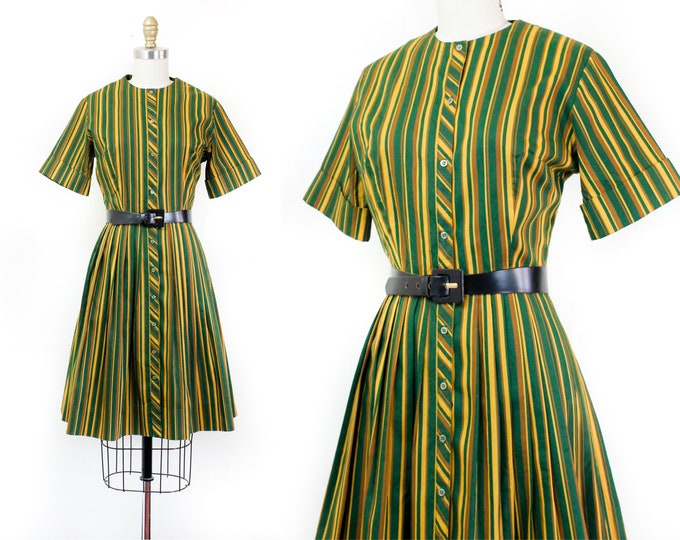 Featured listing image: 1960s striped dress // Zucchini green and yellow vintage striped 60s dress by Ladybird sm / md