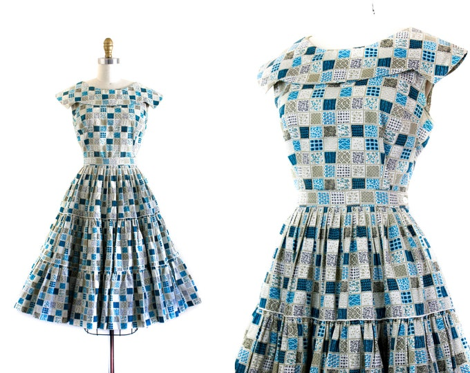 Featured listing image: 1960s patio dress set //  Holly Hobbie plue patchwork print 50s / 60s dress . patio skirt set . md
