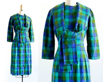 1950s wool dress // Rosemary Hyssop vintage 1950s blue sheath dress with scarf by Minx Modes . md