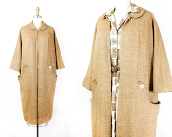1950s swing coat // Castles in the Sand .  1950s tweed coat . sm / md