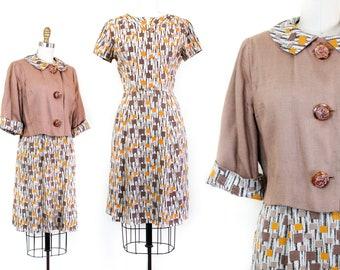 1950s dress set // Tiny Boxes vintage 1950s linen atomic print dress and jacket set md / lg