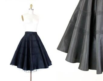1950s circle skirt // Lunar Eclipse vintage 1950s black satin skirt . sm