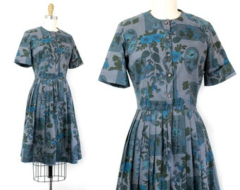 1960s blue dress // Blue Rose vintage 60s floral print dress . sm / small