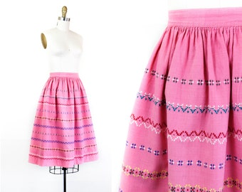 1950s embroidered skirt //  Candy pink vintage 1950s bohemian Indian cotton skirt md / lg