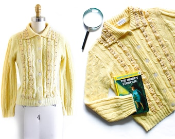 1960s yellow cardigan // Forsythia Bloom vintage cable knit 60s collared cardigan sweater . md